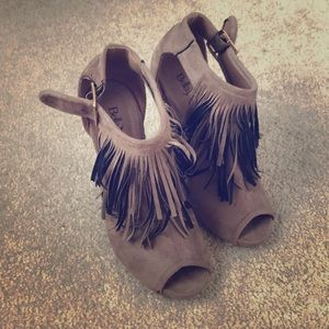Bella Maria Brown with Fringe Open Toed Booties
